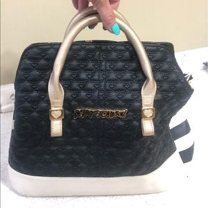 Rare Betsey Johnson Satchel with Floral Lining